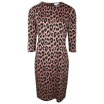 Just White Leopard Print Long Sleeve Sports Dress