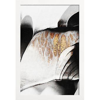 JUNIQE Print - Żyły czarno-złote - plakat abstrakcyjny i geometryczny w czerni i bieli