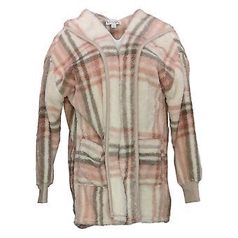 Koolaburra By UGG Women's Sweater Shaggy Plush Cardigan Rib Ivory A386142