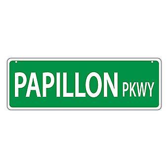 "שלט רחוב, פלסטיק, פארק פאפילון, 17"" X 6"""