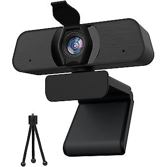 Full HD 2K PC Webcam Webcam with Stereo Microphone, Web Camera with Manual Focus, USB Webcam for Computer, Video Calls, Conference, Recording(Black)