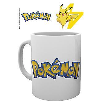 Pokemon-logotypen och Pikachu mugg