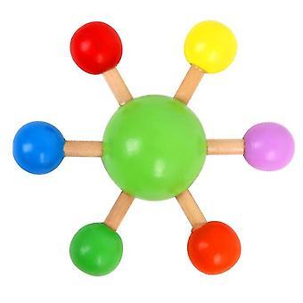 2Pcs dedo verde topo colorido girando top, madeira diversão brinquedo de lazer az12045