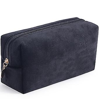 Portable velvet bronzing cosmetic bag large lipstick bag(Black)