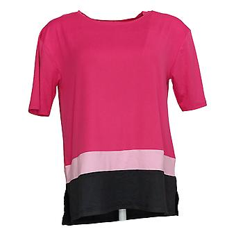 Cuddl Duds Women's Top Reg Cool & Airy Color-Blocked Pink A391306