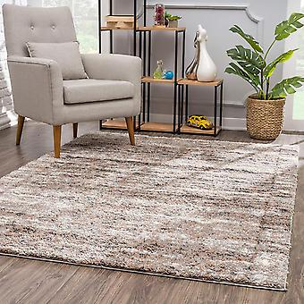 4' x 6' Ivory and Brown Retro Mod Area Rug