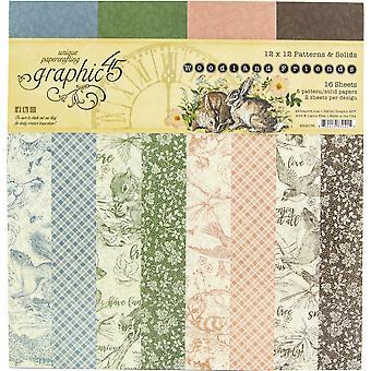 """Graphic 45 Double-Face Paper Pad 12""""X12» 16/Pkg - Woodland Friends"""