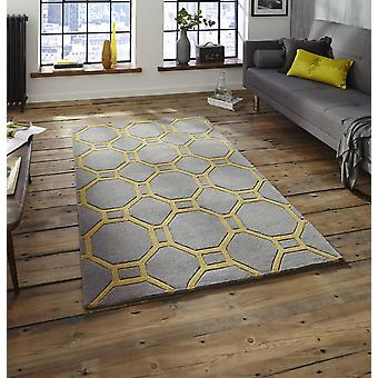 Noble House 4338 Grey Yellow  Rectangle Rugs Plain/Nearly Plain Rugs