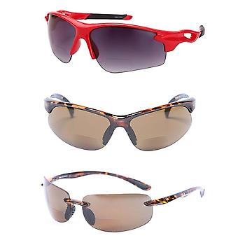"""The Allstars"" 3 Pair Assortment of our Bifocal Sport Wrap Reading Sunglasses for Men and Women - Tortoise/Red - 3.00"