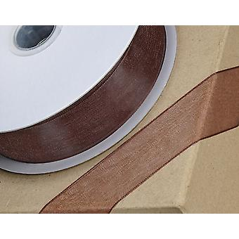 25m Chocolate Brown 23mm Wide Organza Ribbon for Kraft Paper Crackers