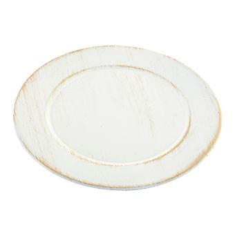 Flat plate DKD Home Decor Alderen finish Hvit polypropylen (13 x 13 x 13 cm)
