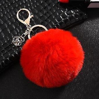 Flauschige und weiche nordische Stil Kaninchen Pompon Trinket Schlüsselanhänger (Rot)