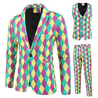 Mile Men's Diamond Stripe Printing Three-piece Single-breasted Suit (single West + Vest + Trousers)