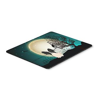 Halloween Scary Papillon Black White Mouse Pad, Hot Pad or Trivet