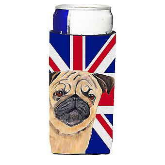 Pug with English Union Jack British Flag Ultra Beverage Insulators for slim cans