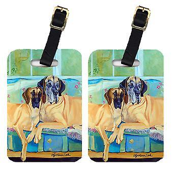 Carolines tesoros 7280BT par de 2 etiquetas de equipaje de gran danés