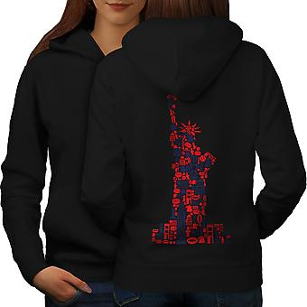 New York Statue Freedom Women BlackHoodie Back | Wellcoda