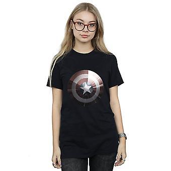 Capitán América escudo novio brillante camiseta Fit de la mujer de la maravilla