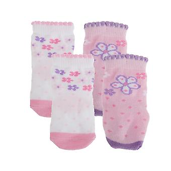 Baby Girls Butterfly/Floral Print Bootie Socks (Pack Of 4)