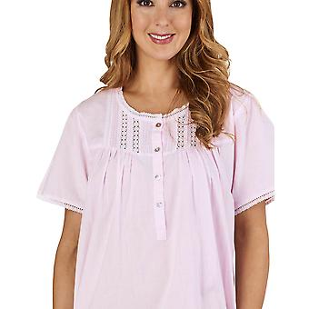Slenderella ND1271 Women's Lace and Pintucks Pink 100% Cotton Night Gown Loungewear Short Sleeved Nightdress