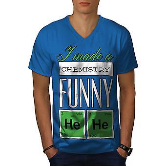 Funy Chemistry Geek Men Royal BlueV-Neck T-shirt   Wellcoda