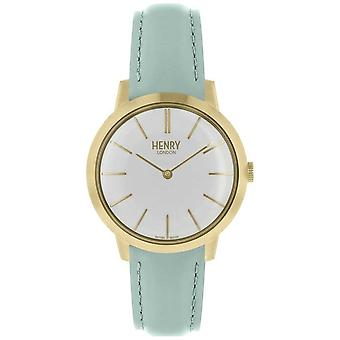 Henry London Iconic Womens White Dial Blue Leather Strap HL34-S-0224 Watch