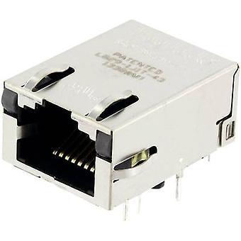 MagJack Gigabit Ethernet 8 lähetin LED ULP pistorasia, horisontaalisten mount Gigabit Ethernet nastojen määrä: 8P8C nikkeli-pinnoitettu, metalli BEL Stewart liittimet