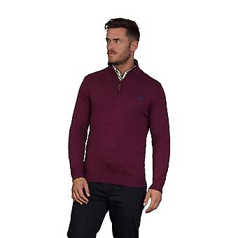 Knitted Cotton Cashmere 1/4 Zip - Burgundy