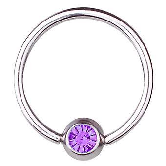 BCR titaani lävistyksiä, pallo sulkeminen Ring 1, 6mm, SWAROVSKI ELEMENTS Purple | 8-16
