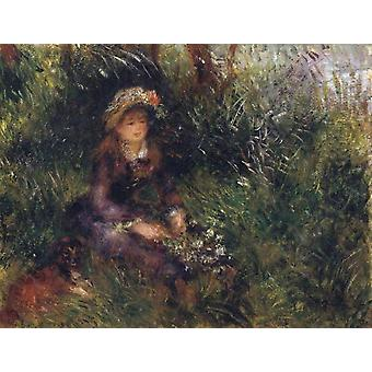 Madame Renoir with a Dog, Pierre Renoir, 32x41cm