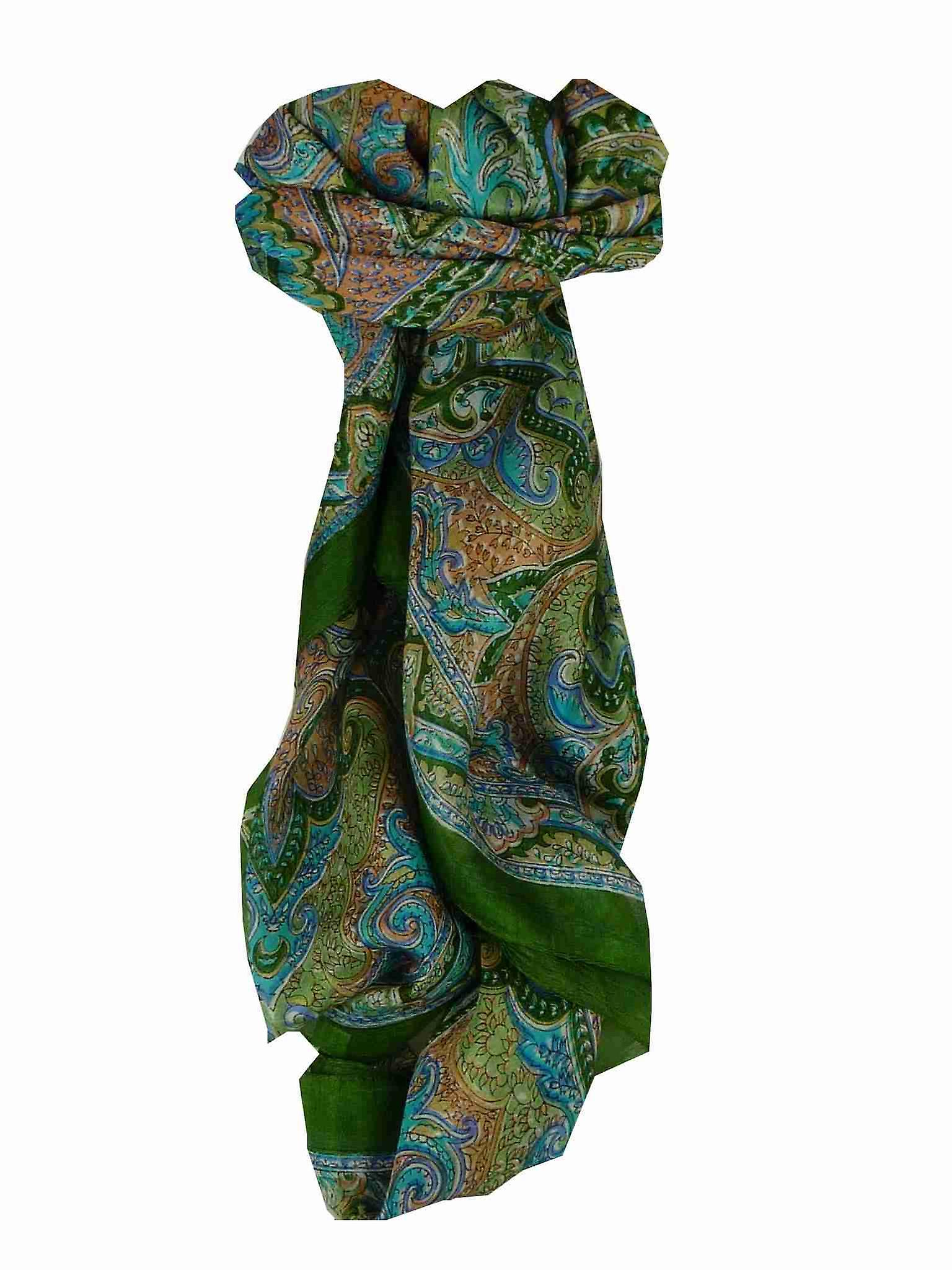Mulberry Silk Traditional Square Scarf Cheyar Sage by Pashmina & Silk