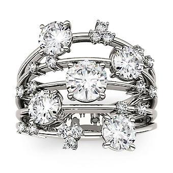 14K White Gold Moissanite-tekijä Charles & Colvard Fashion Galaxy Ring - koko 6, 3,15cttw DEW