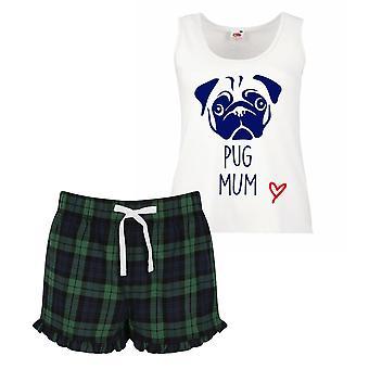 Pug mamma Ladies Tartan Frill pigiama corto Set rosso blu o verde blu