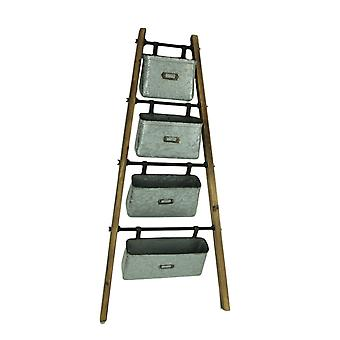 Rustic Wood and Galvanized Zinc Finish Metal 4 Basket Leaning Ladder Shelf