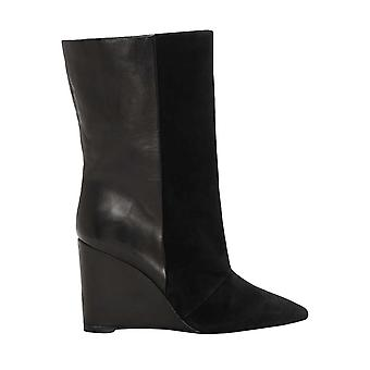 1. state Womens Zalena couro dedo apontado meio da panturrilha moda botas
