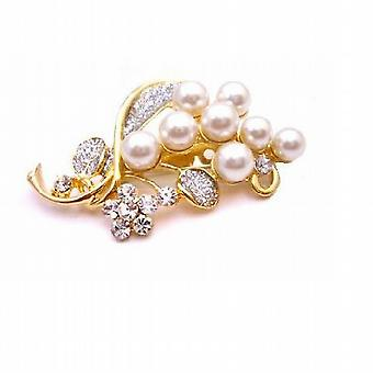 Wedding Bouquet Gold Brooch with Pearls & Diamond Sparkling
