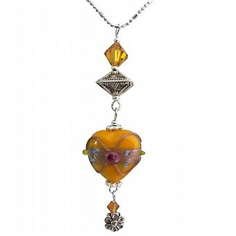 Wire Wrapped Heart Penant With Topaz Crystals Dangling Crystals Necklace