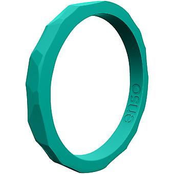 Enso Rings Hammered Stackables Series Silicone Ring - Caribbean
