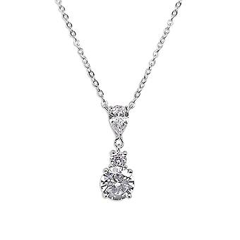 Ah! Jewellery Sterling Silver Pear & Round Clear Crystals From Swarovski Drop Necklace