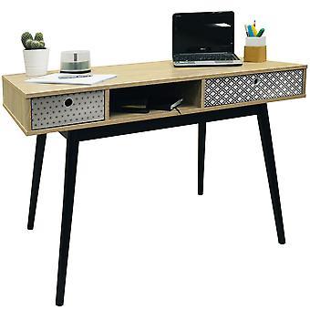 Retro - Computer-Schreibtisch 2 Schubladen / Dressing Tisch - Eiche / schwarz
