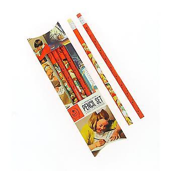Vintage lieveheersbeestje potlood set
