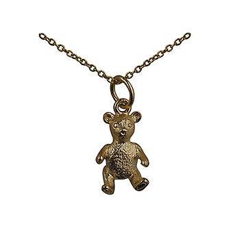 9ct Gold 15x10mm sitting Teddy Bear Pendant with a cable Chain 20 inches