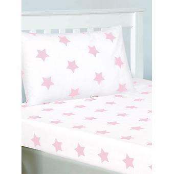 Roze en witte sterren Hoeslaken en kussensloop set