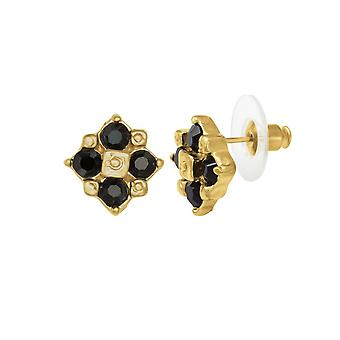 Eternal Collection Exquisite Jet Crystal Gold Tone Stud Pierced Earrings