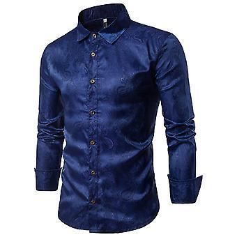 Allthemen hombres mangas largas camisa bordada cuatro estaciones camisa de manga larga