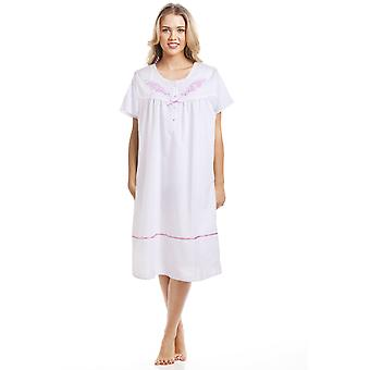 Camille Classic Pink Dot Short Sleeve White Nightdress