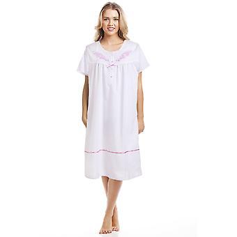 Camille Classic różowy Dot Krótki rękaw Biała Koszula nocna