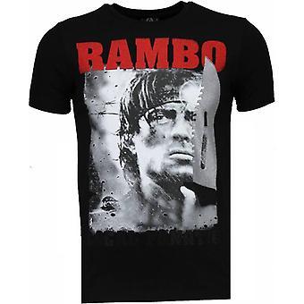 Rambo-rhinestone T-shirt-svart
