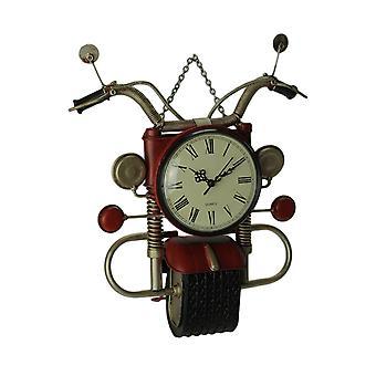 Red Metal Art Retro Motorcycle Wall Clock Sculpture