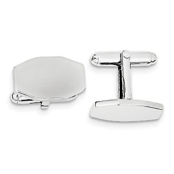 925 Sterling Silver Solid Polished Engravable and Cuff Links Jewelry Gifts for Men - 10.8 Grams
